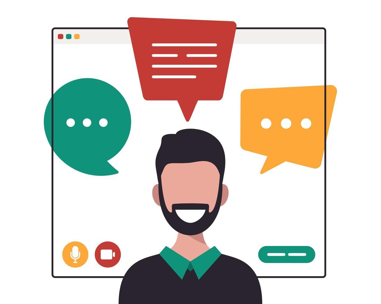 zakenman chatten tijdens videogesprek vector