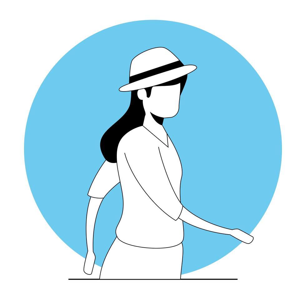 jonge vrouw avatar karakter vector