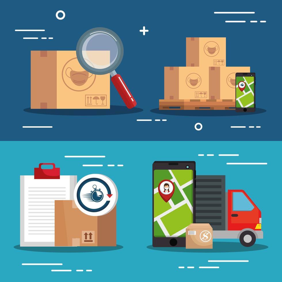 bestelwagen met logistiek banner pictogramserie vector