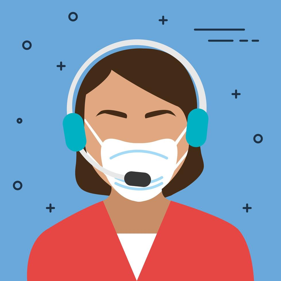 vrouwelijke callcenter-agent met een gezichtsmasker vector