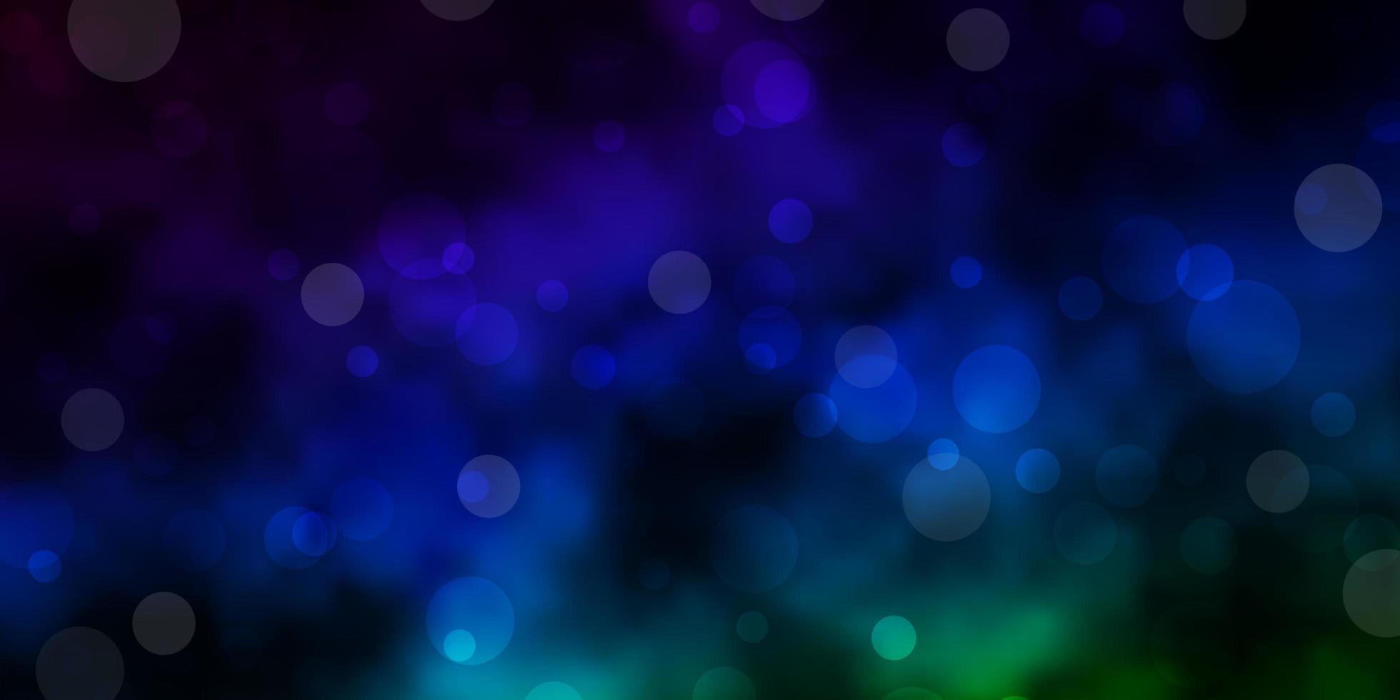 donkerblauwe, groene vectorlay-out met cirkelvormen. vector