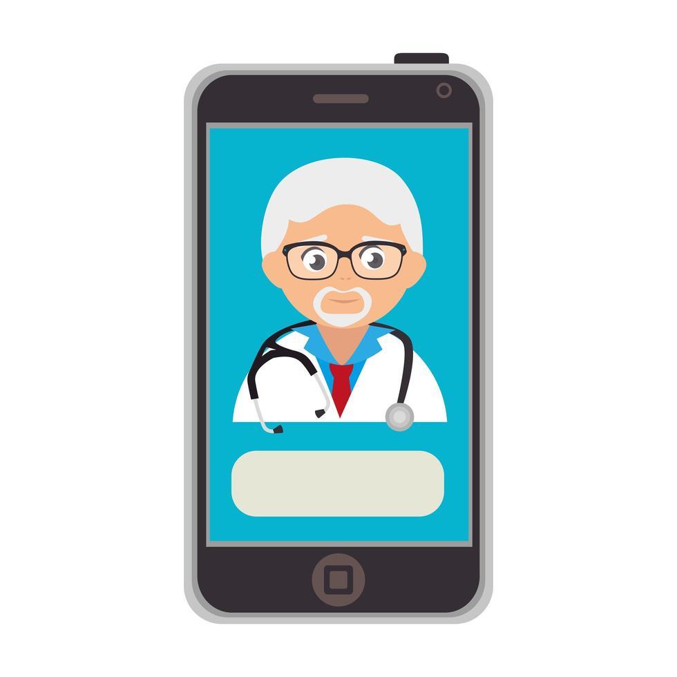 online geneeskunde met arts op de smartphone vector