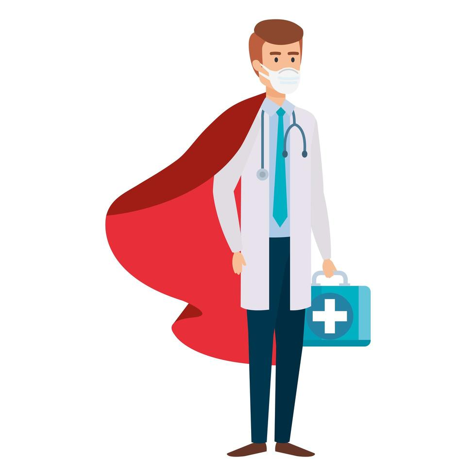 mannelijke arts die een gezichtsmasker draagt als een superheld vector