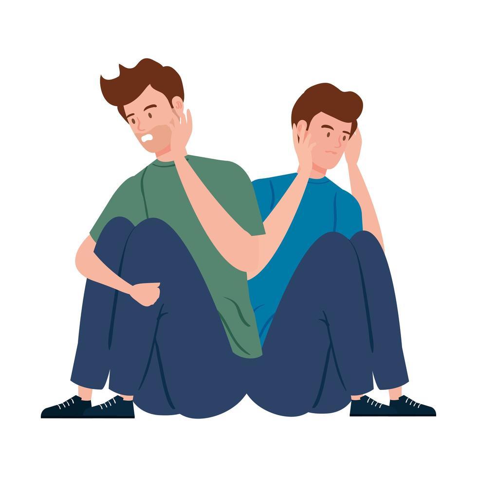 depressieve en gestreste jonge mannen vector