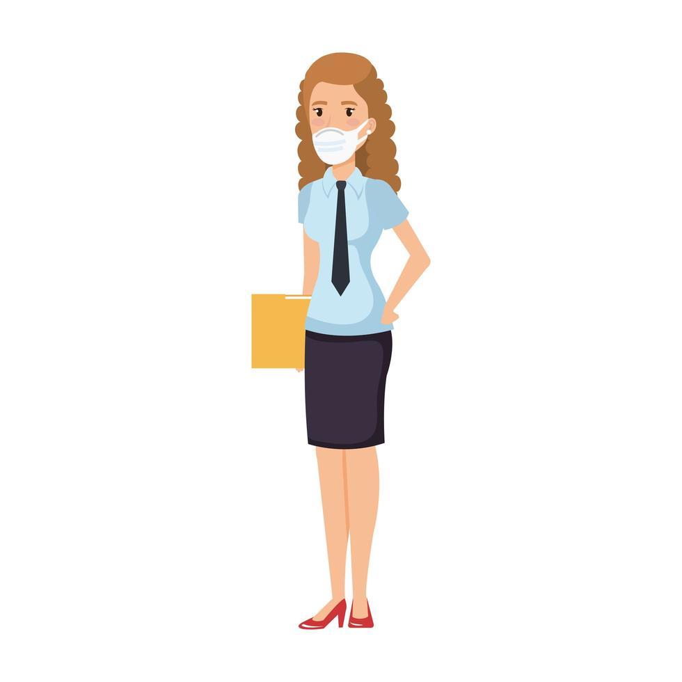 zakenvrouw met map en gezichtsmasker geïsoleerd pictogram vector