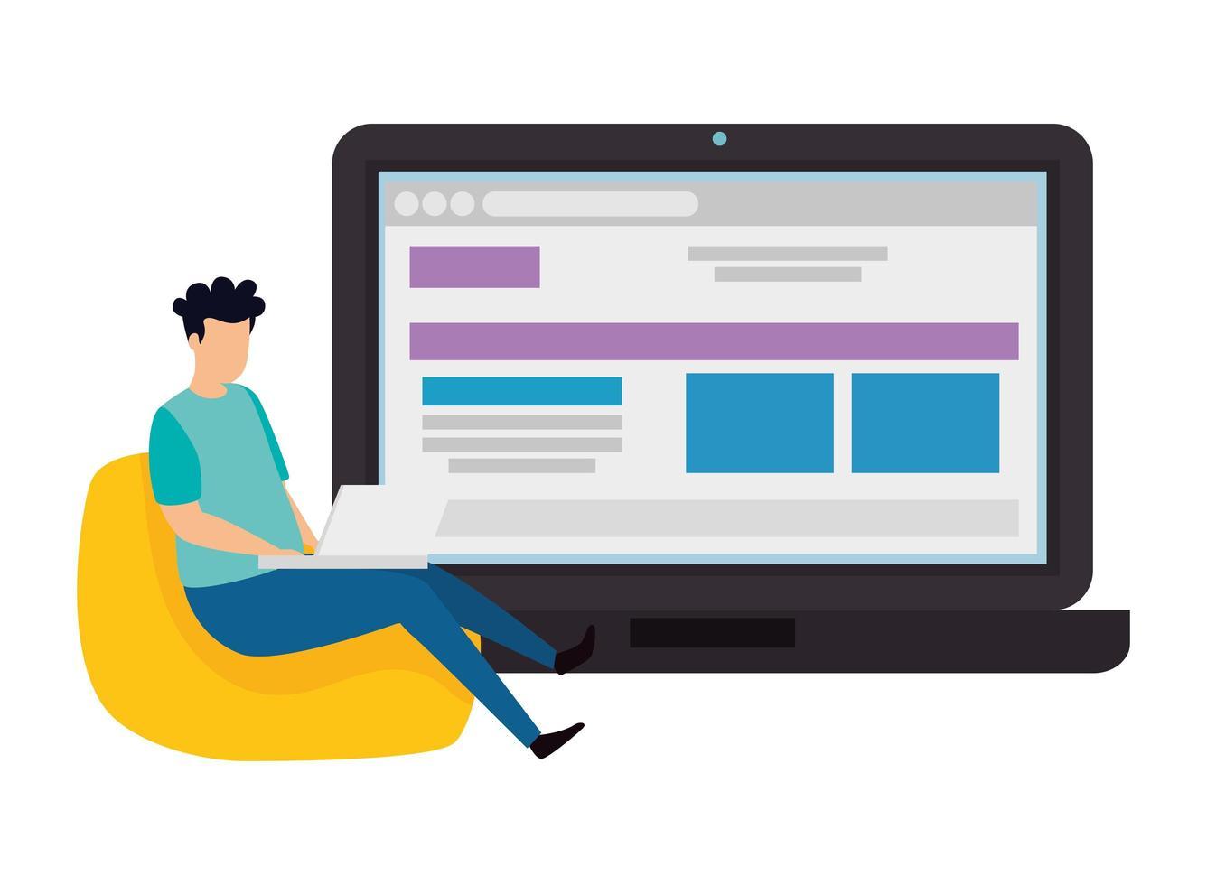 man en laptop met webpagina vector