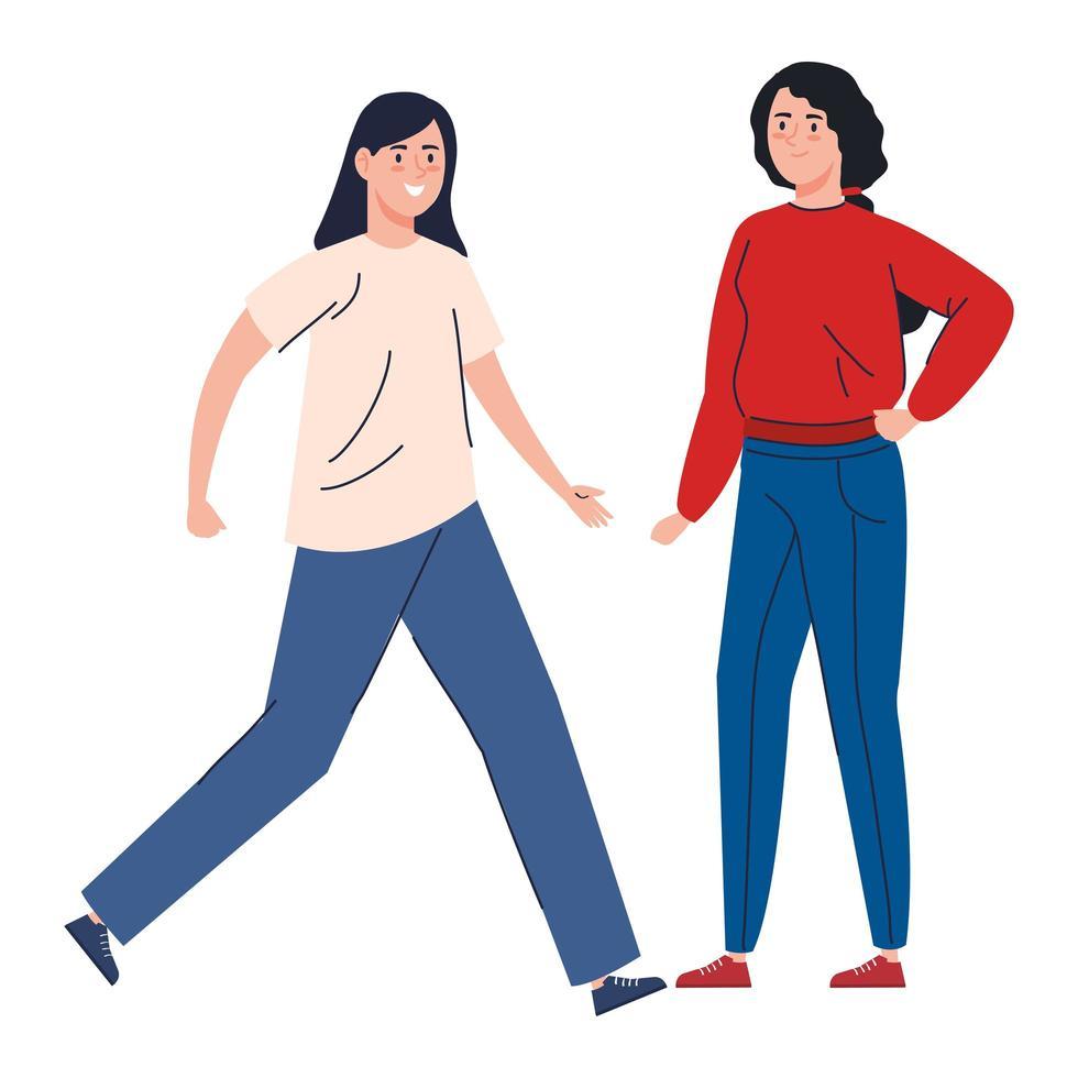 gelukkige vrouwen die samen lopen vector