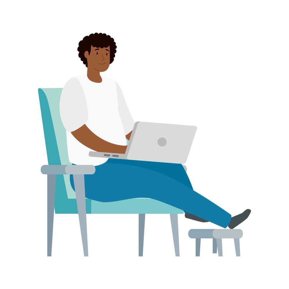 man aan het werk met zijn laptop op een stoel vector