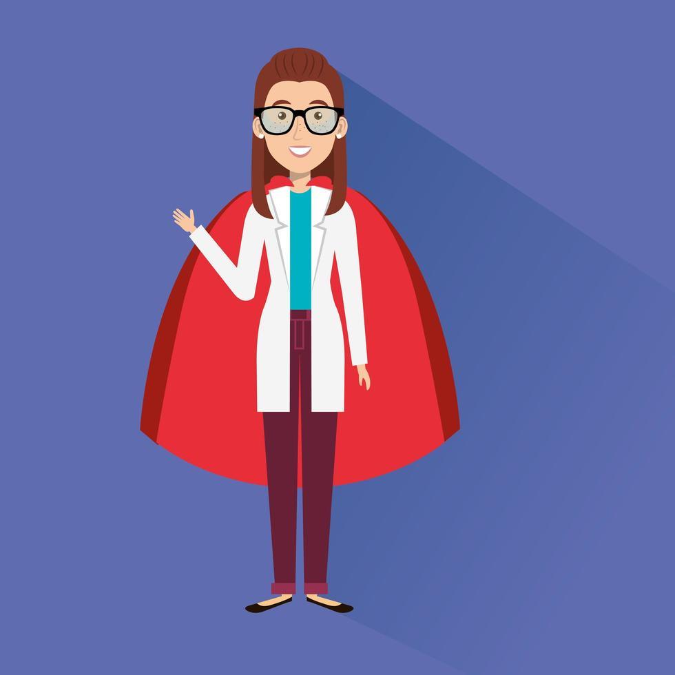 vrouwelijke arts als een superheldin vector