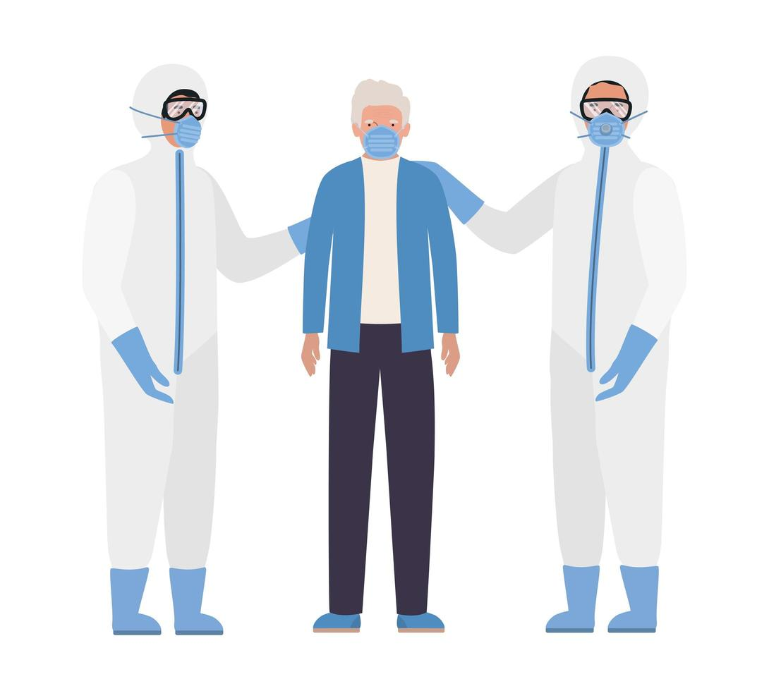 oudere man met masker en artsen met beschermende pakken tegen covid 19 vectorontwerp vector