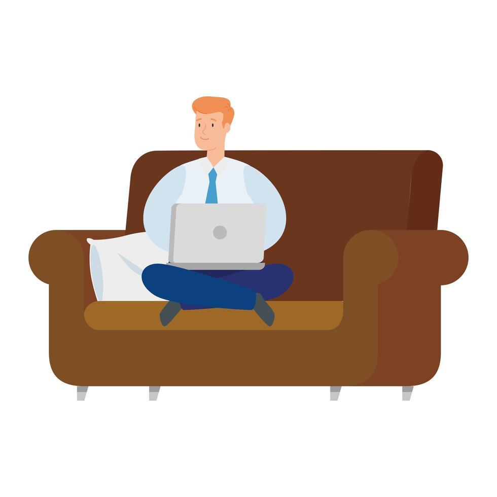 man aan het werk met zijn laptop op de bank vector