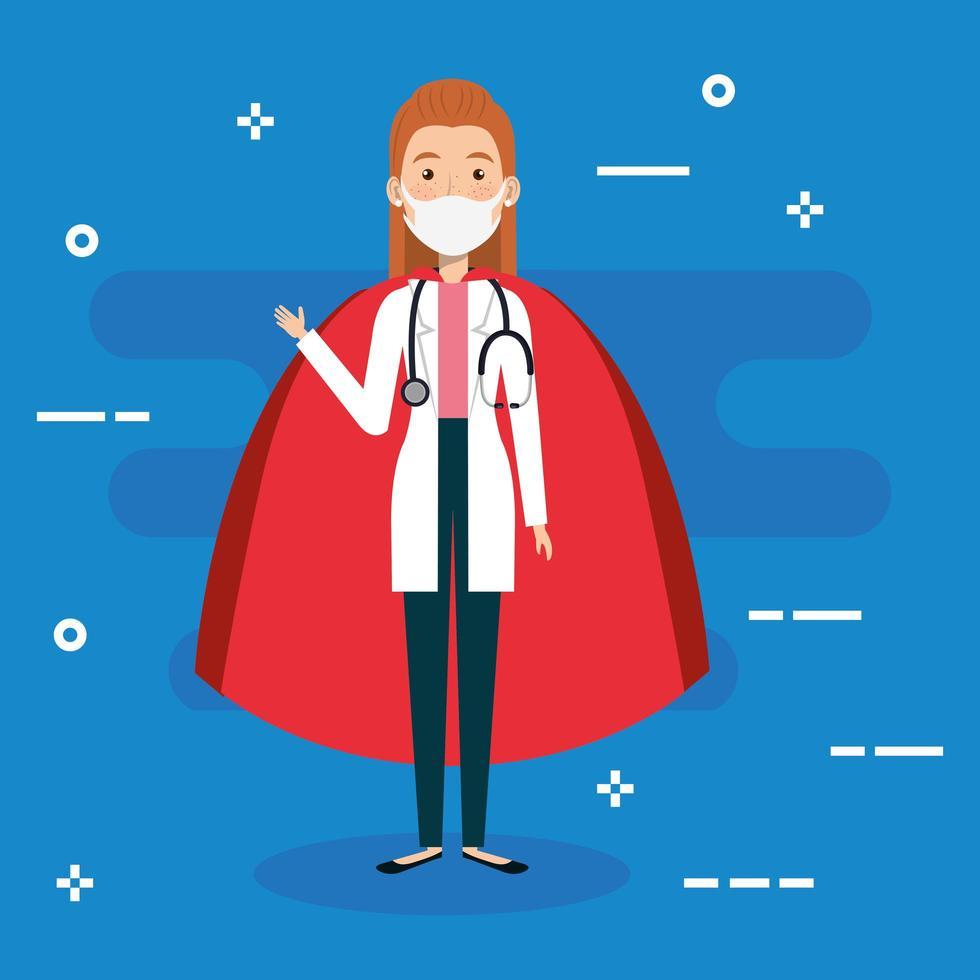 vrouwelijke arts die een gezichtsmasker draagt als een superheldin vector