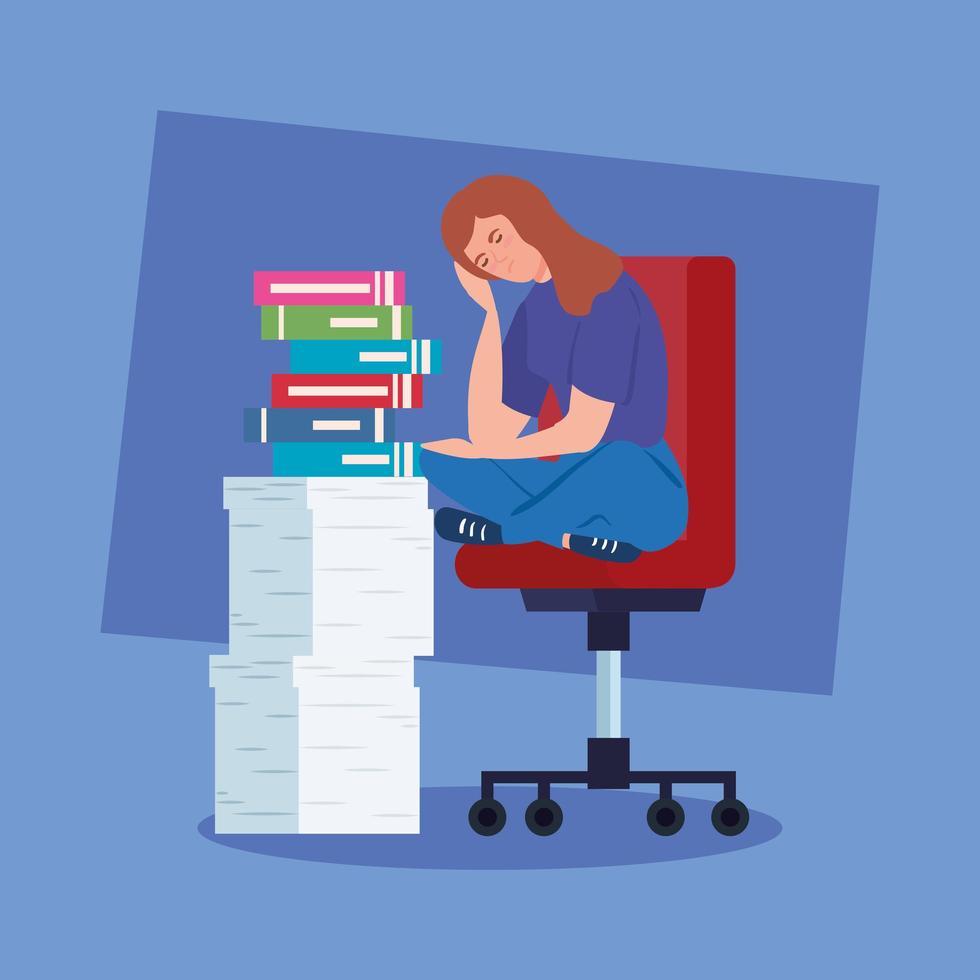 nerveuze vrouw zittend op een stoel met veel werk te doen vector