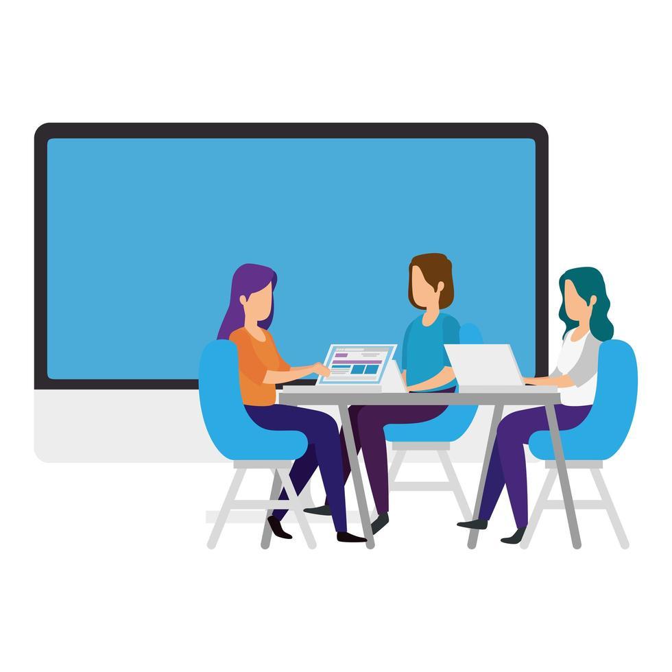 vrouwen met laptops op het bureau vector
