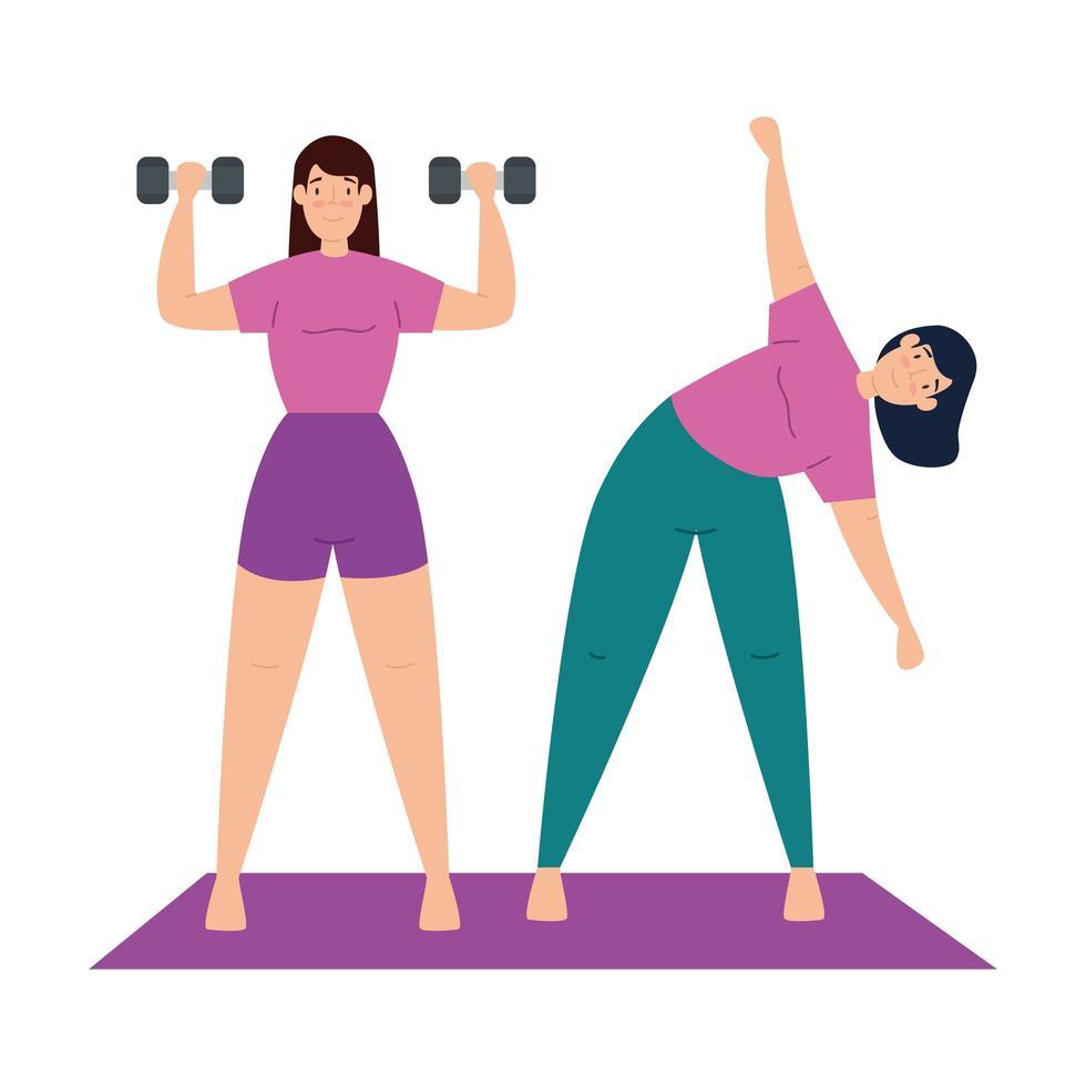 vrouwen die samen yoga uitoefenen en doen vector