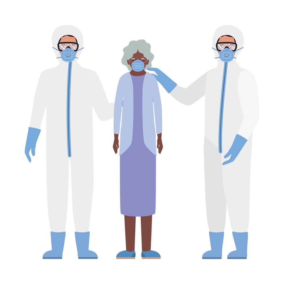 oudere vrouw met masker en artsen met beschermende pakken tegen covid 19 vectorontwerp vector