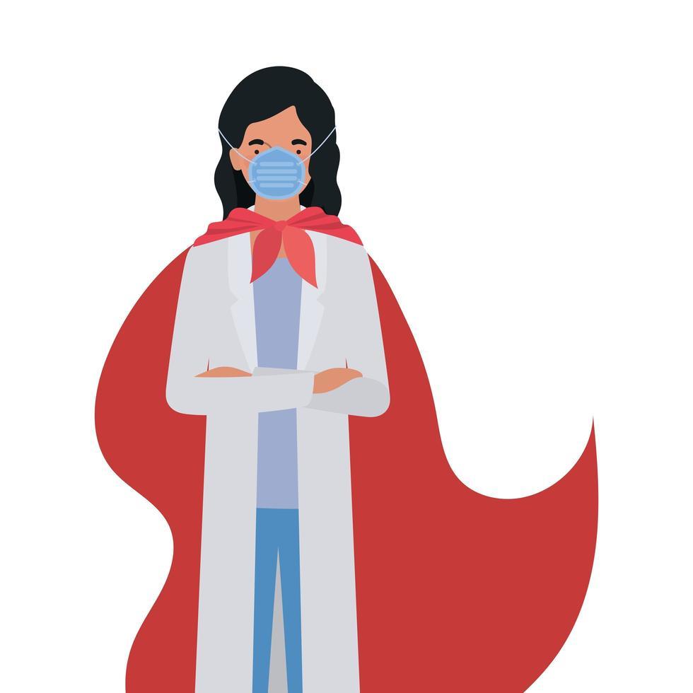 vrouw dokter held met cape tegen 2019 ncov virus vector ontwerp