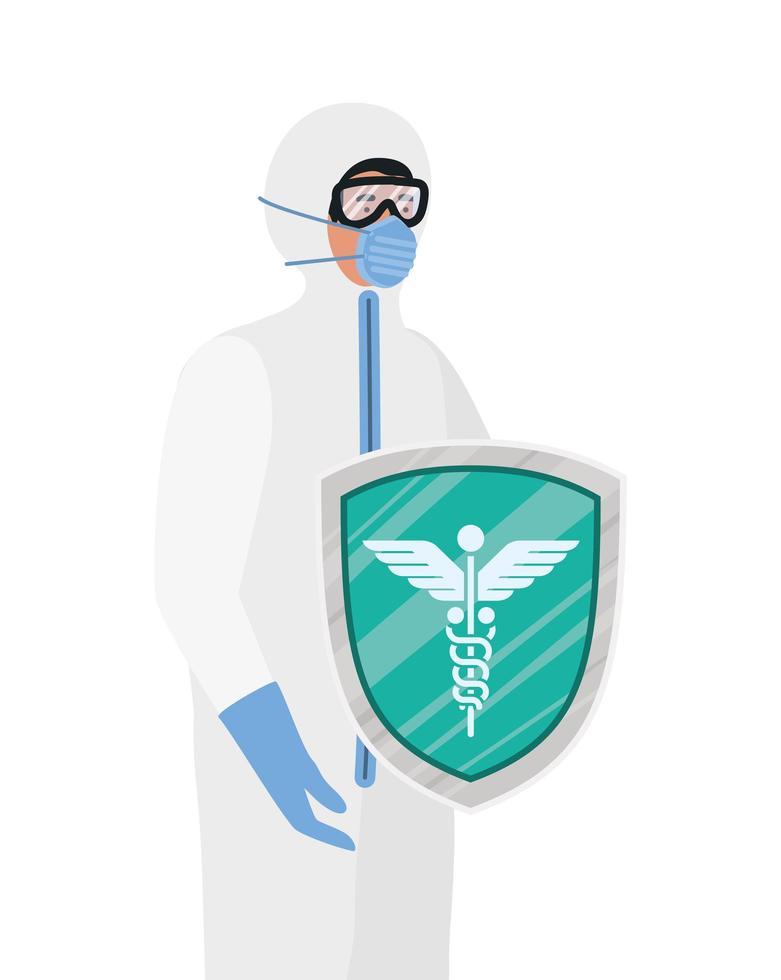 arts met beschermend pak en schild tegen 2019 ncov-virus vectorontwerp vector