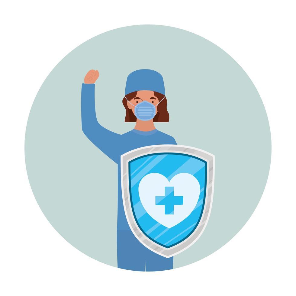 vrouw arts held met schild tegen 2019 ncov virus vector ontwerp