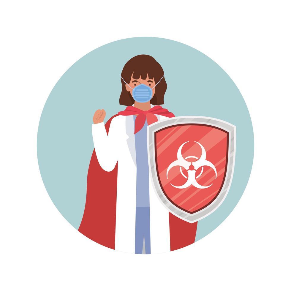 vrouwelijke artsheld met cape en schild tegen 2019 ncov-virusontwerp vector