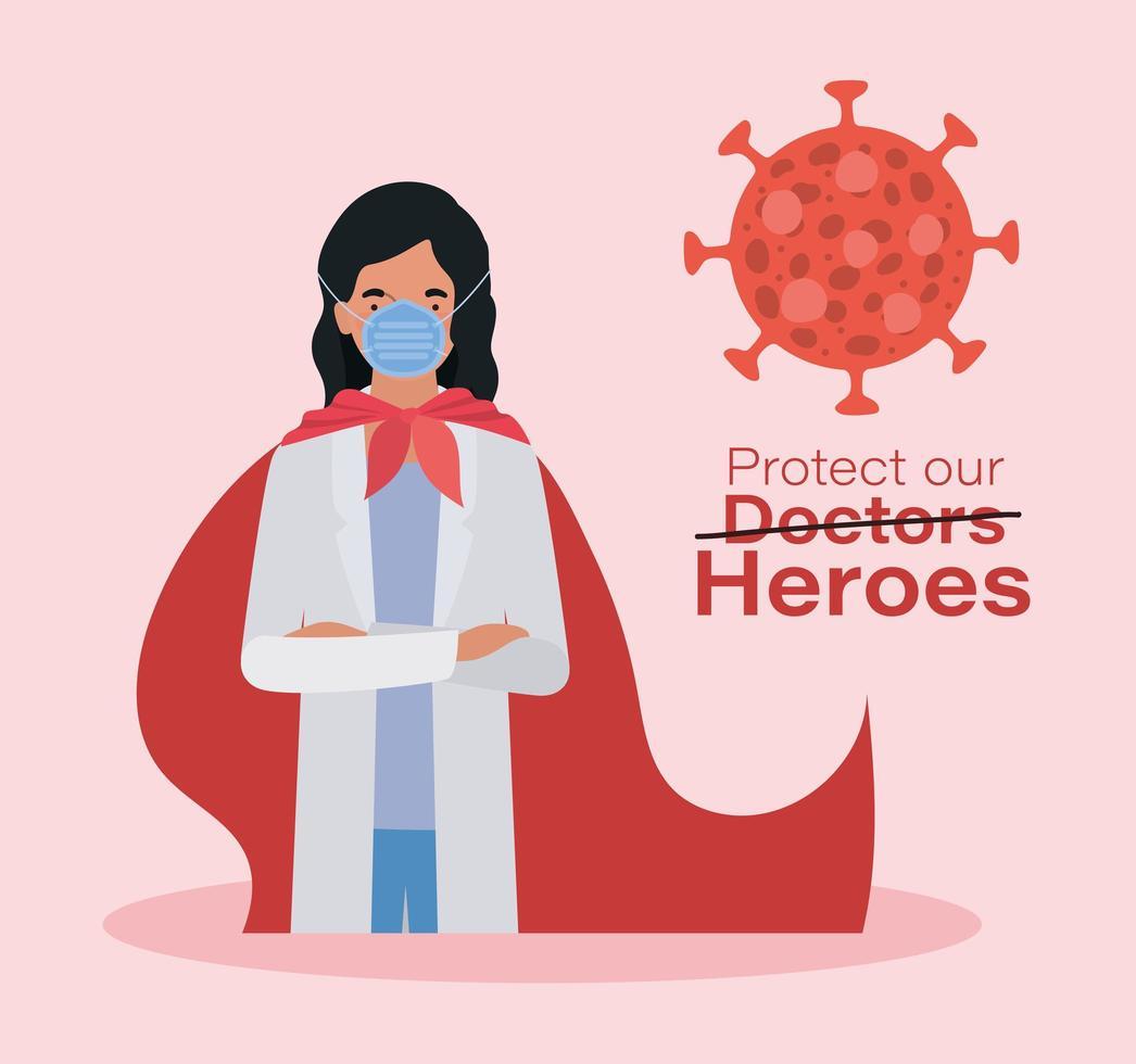 vrouw arts held met cape tegen 2019 vector ontwerp
