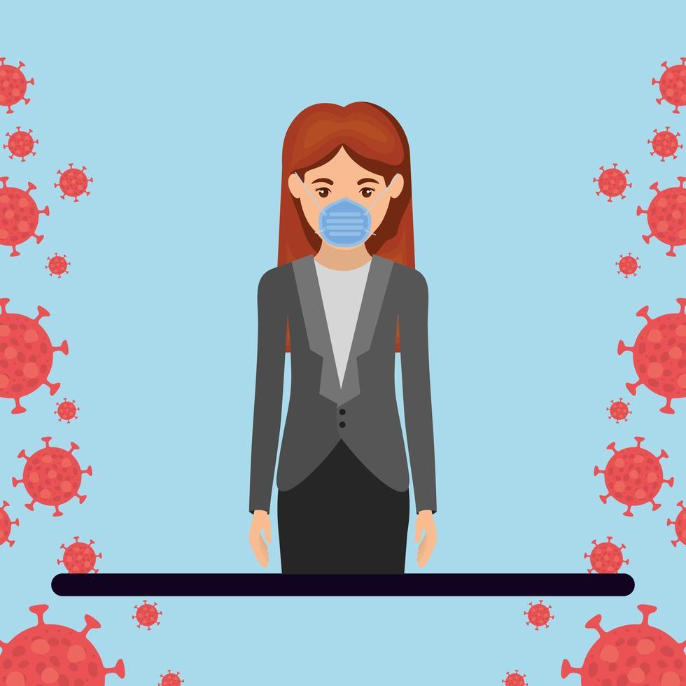 zakenvrouw met masker tegen 2019 ncov-virus vectorontwerp vector