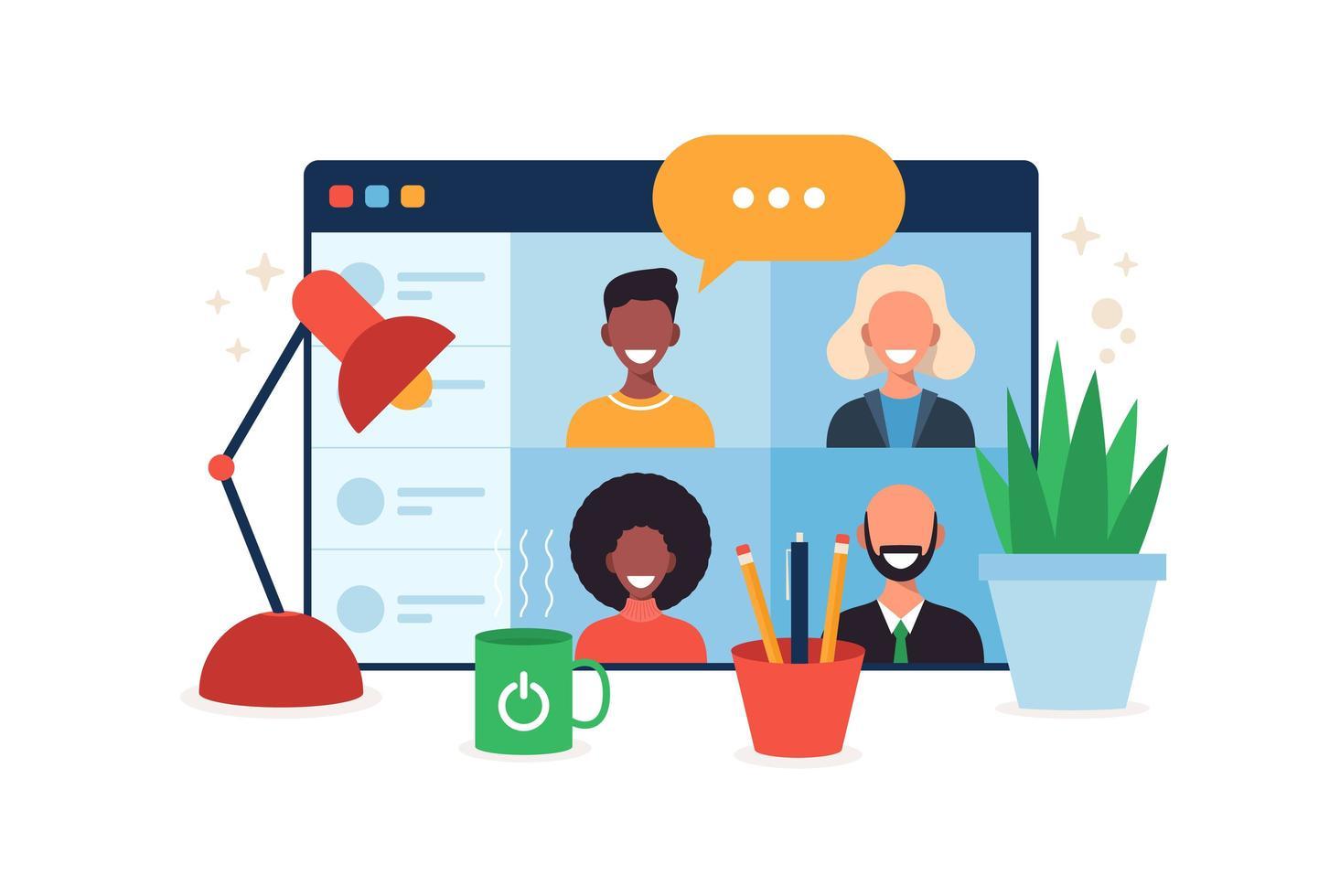 online onderwijs, e-learning, online cursusconcept, thuisschool vectorillustratie. studenten op browservenster computerscherm, afstandsonderwijs, nieuw normaal, cartoon platte vectorillustratie vector