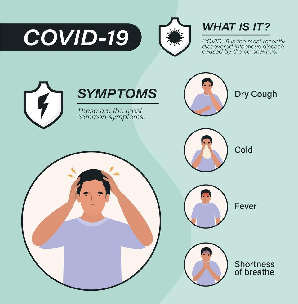 covid 19 virussymptomen en zieke man avatar vector ontwerp