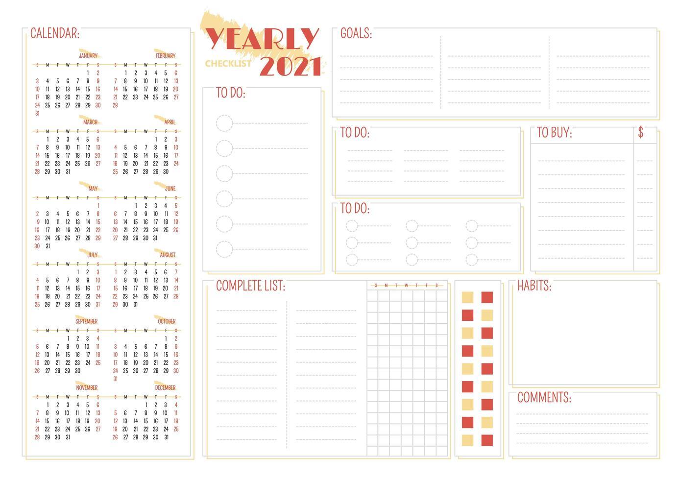 jaarlijkse 2021 checklist creatieve planner pagina-ontwerp vector