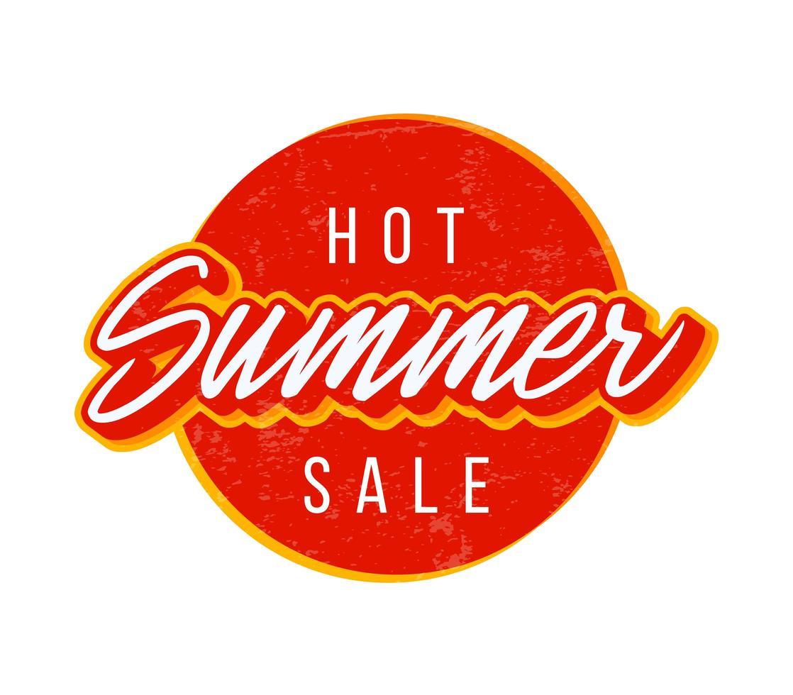 hete zomer verkoop cirkel. vectorillustratie met typografietekst voor grote verkoop en textuur vector