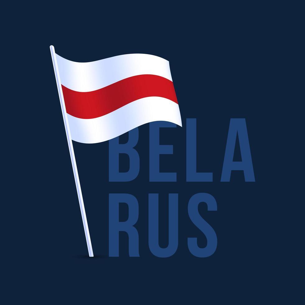 vlag van Wit-Rusland met vlaggenmast zwaaien in de wind. vectorillustratie geïsoleerd op donkere achtergrond vector