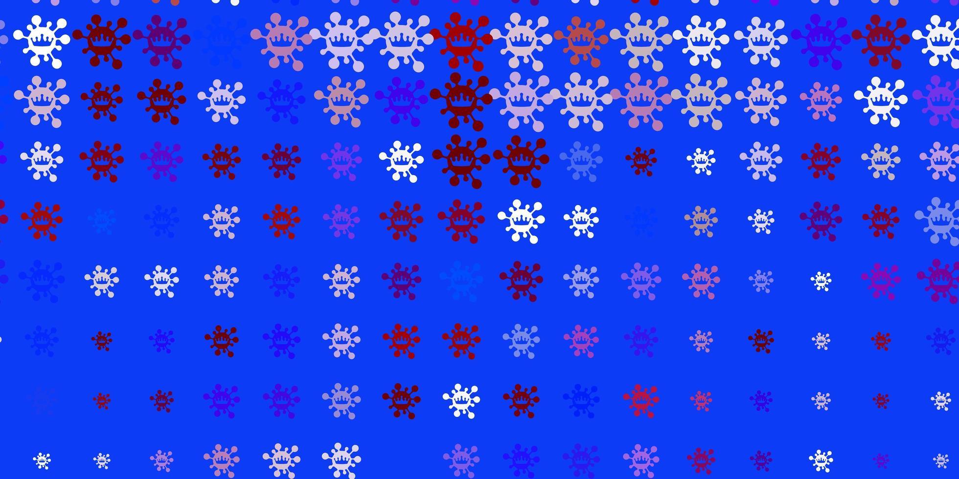 lichtblauw, rood vectorpatroon met coronaviruselementen vector