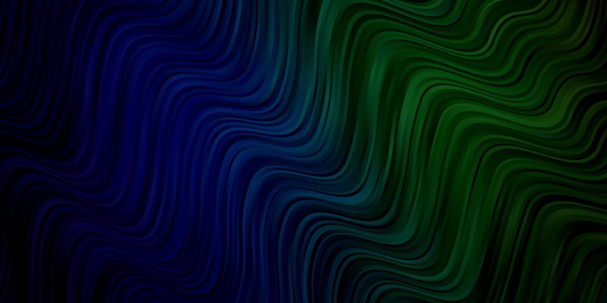 lichtblauw, groen vectorpatroon met gebogen lijnen. vector