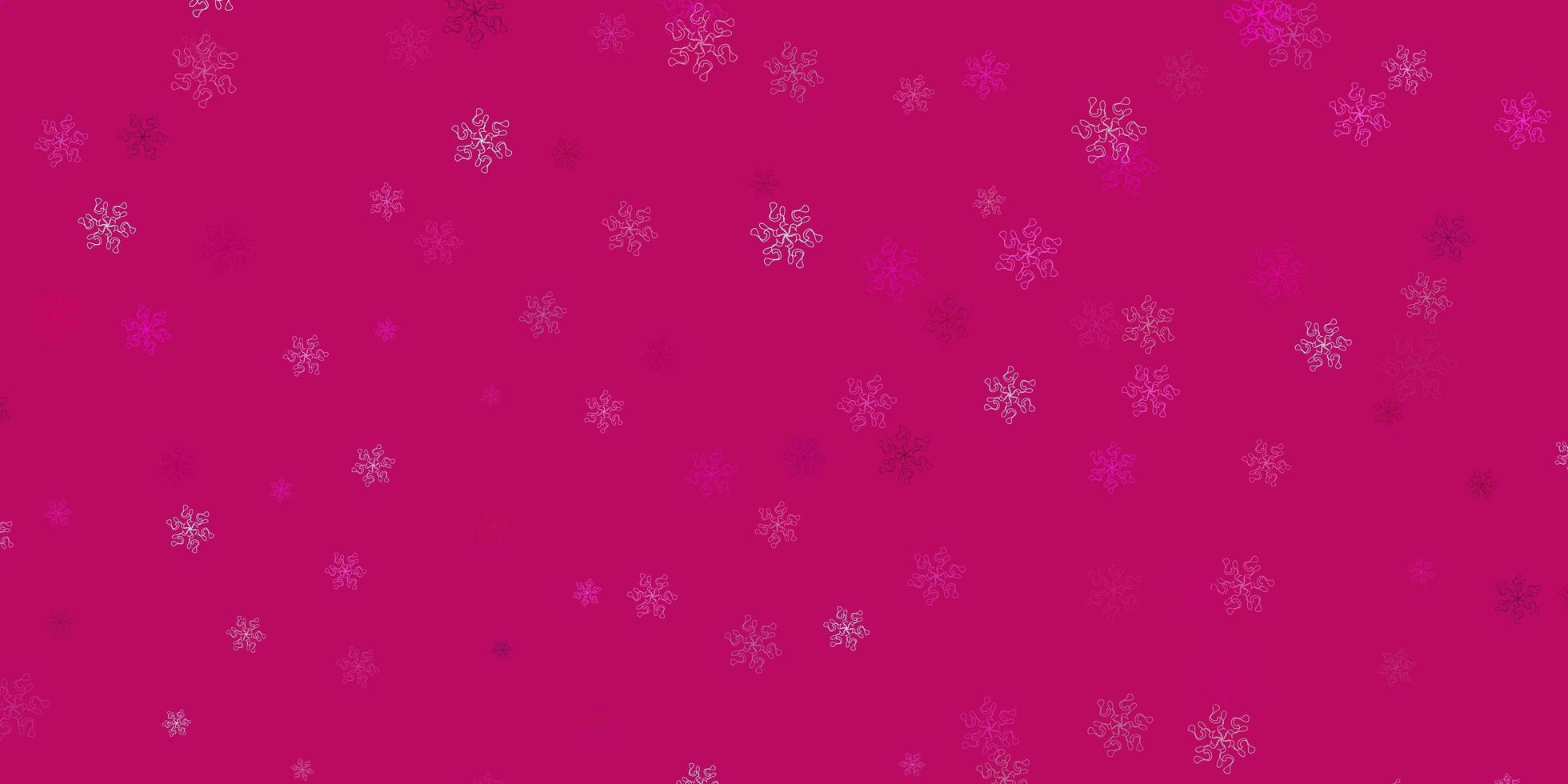 lichtroze vector doodle patroon met bloemen.