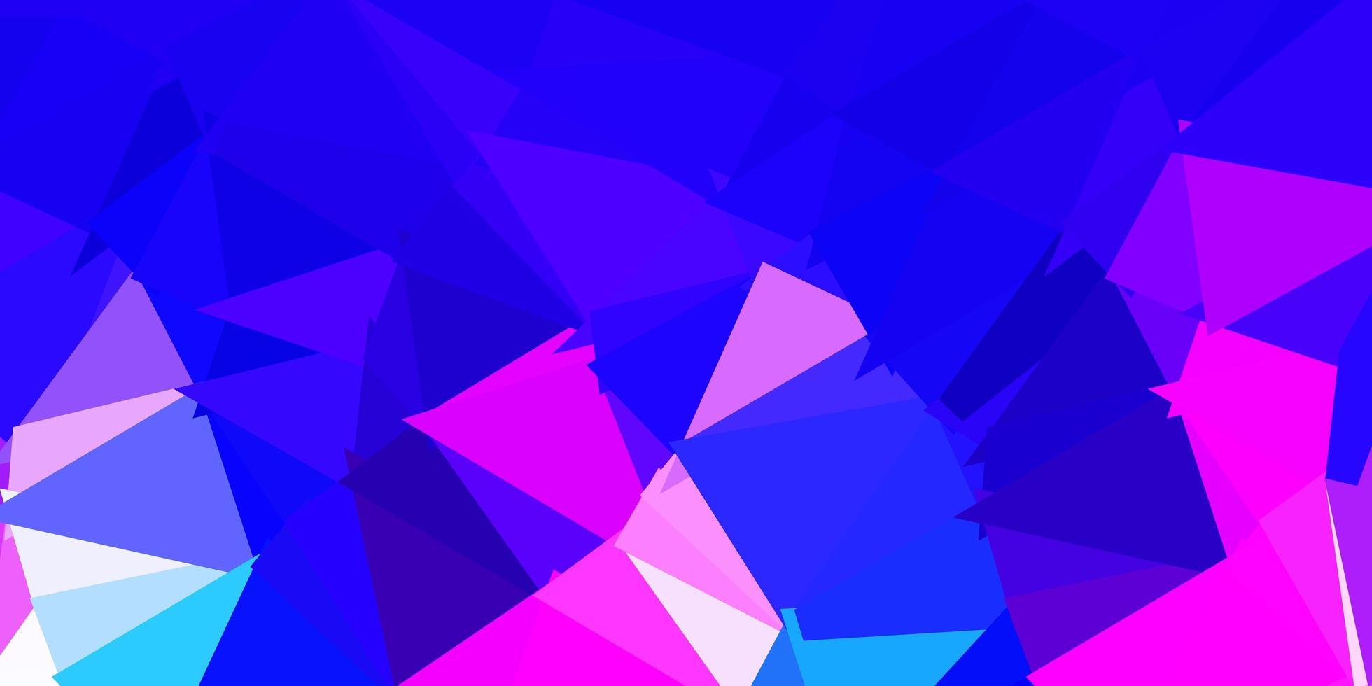 donkerroze, blauw vector abstract driehoekspatroon.