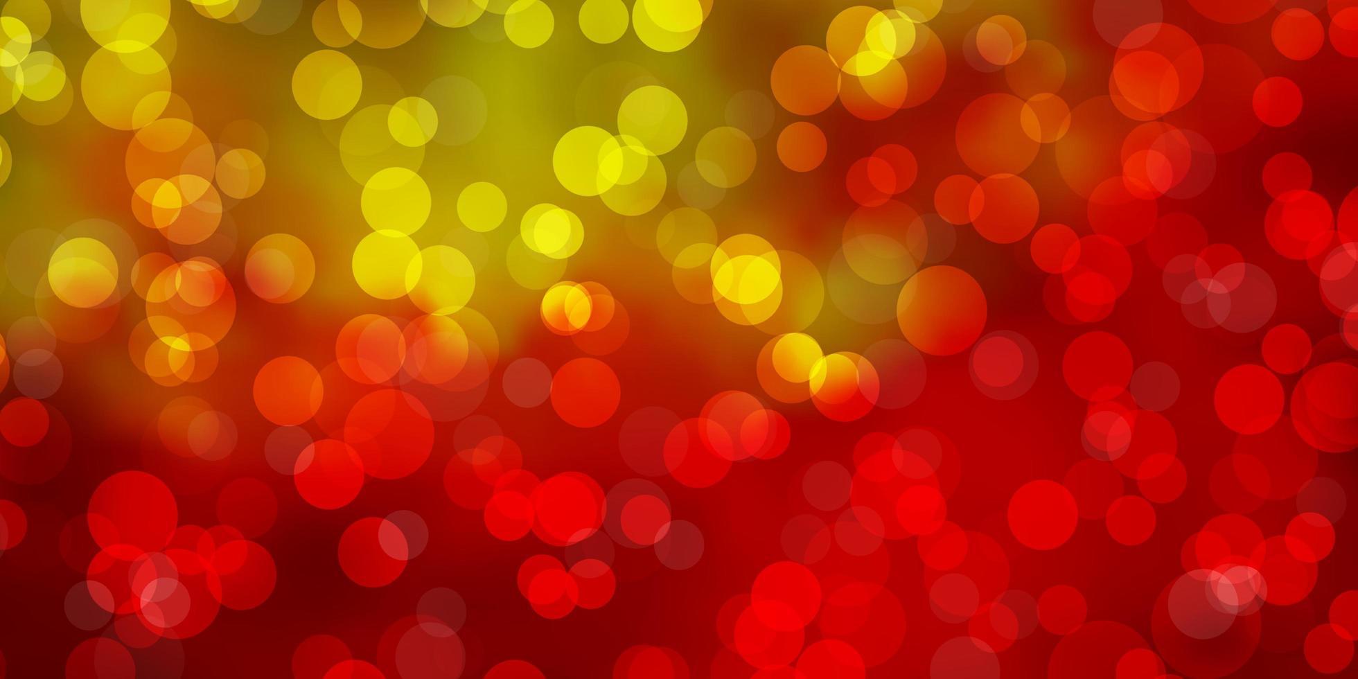 lichtrode, gele vectorlay-out met cirkelvormen. vector