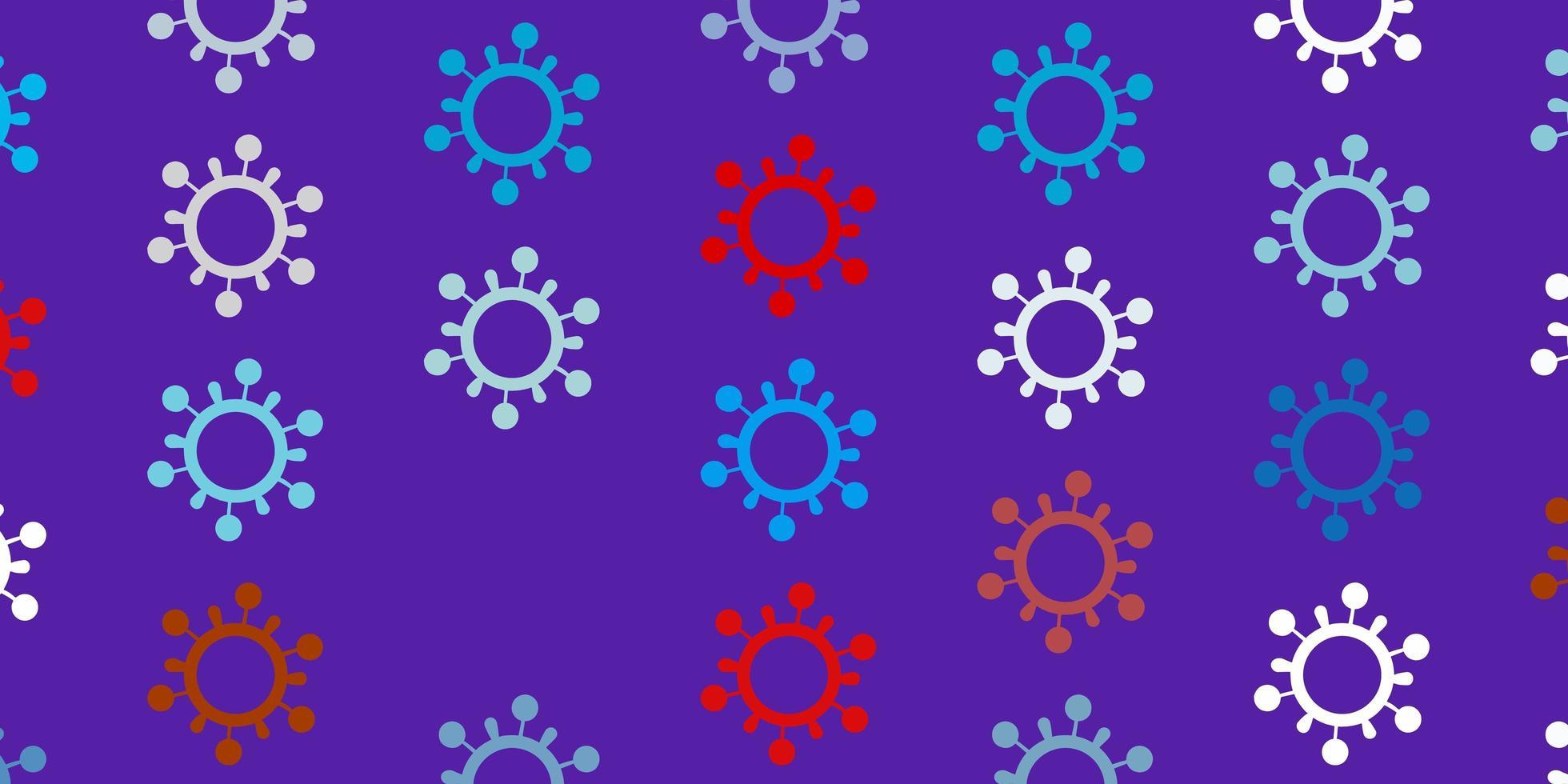 lichtblauw, rood vectorpatroon met coronaviruselementen. vector