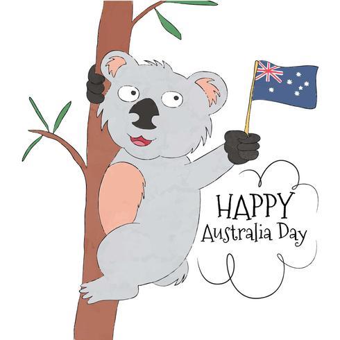 Leuke Koala met Australische vlag vector