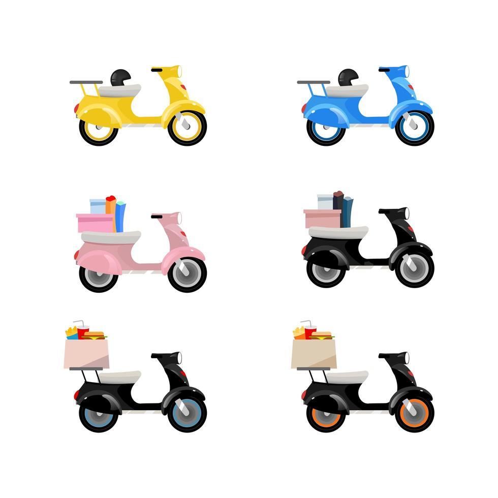 levering motorfietsen objecten ingesteld vector