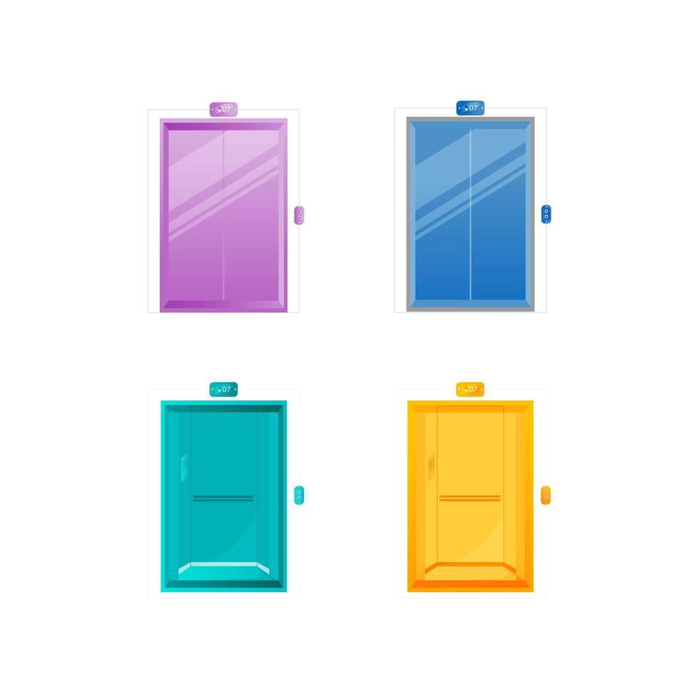 kleurrijke liftdeuren plat object ingesteld vector