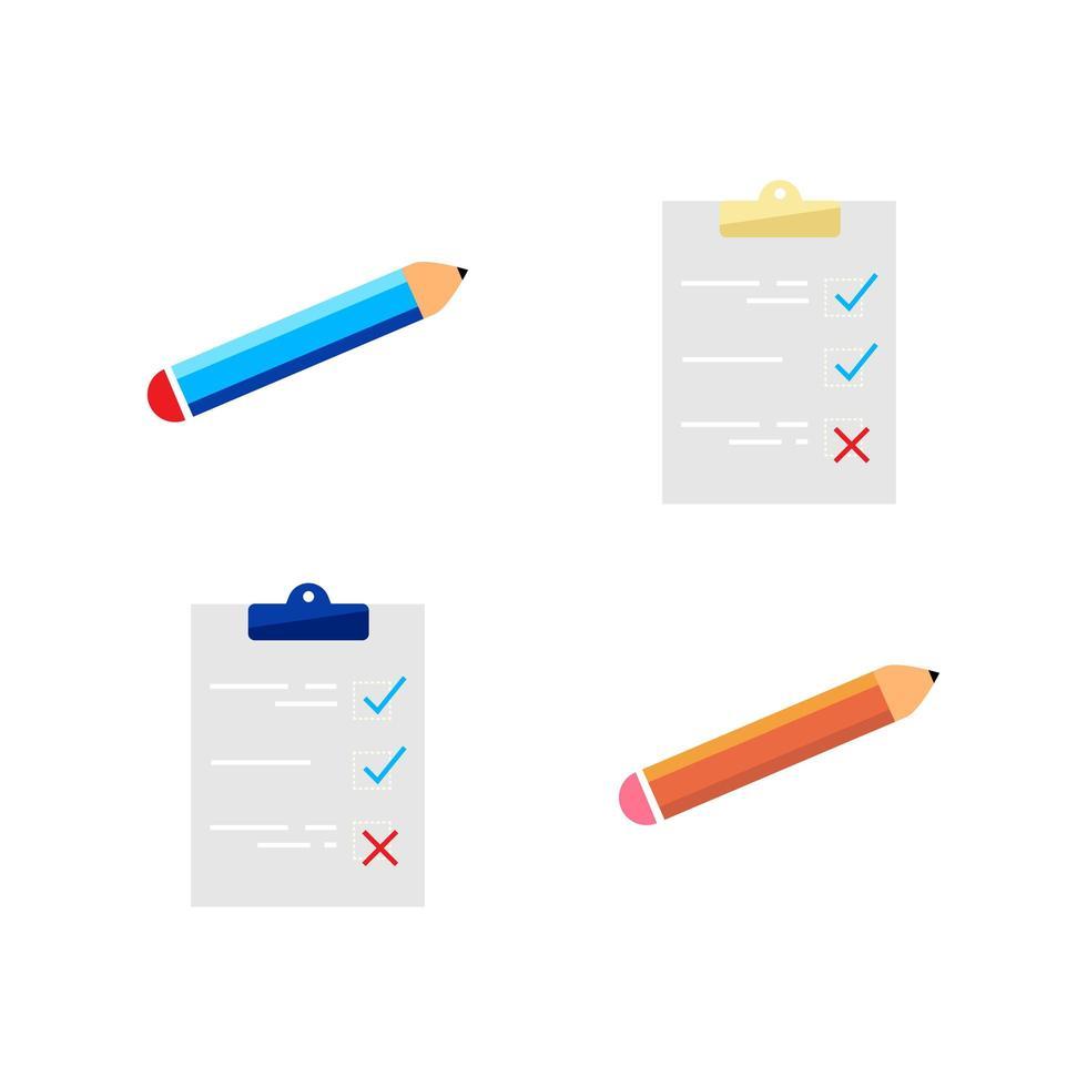 checklist en potlood-objecten ingesteld vector