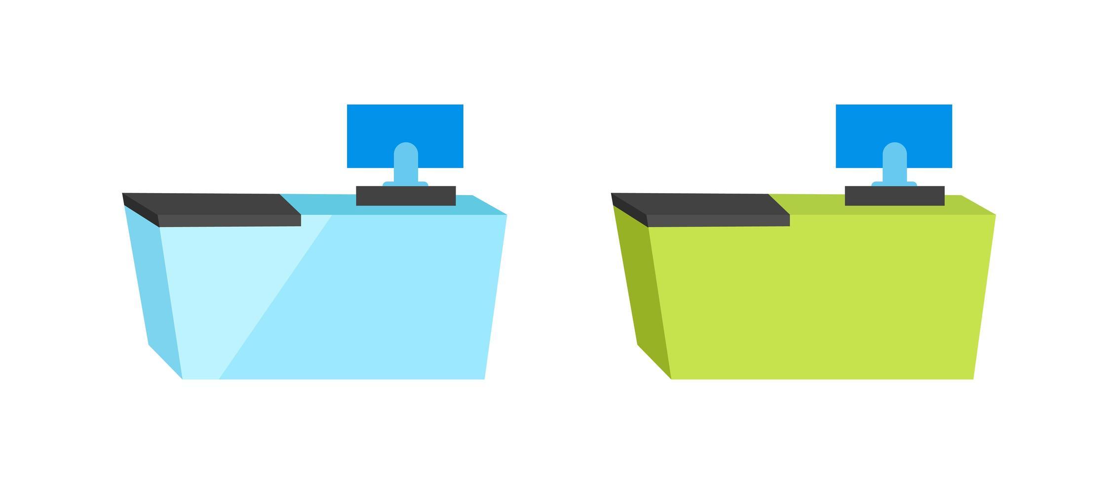 kassier Bureau platte vectorobjecten instellen vector