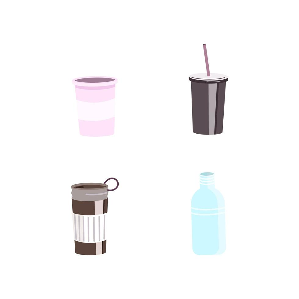 herbruikbare bekers en flessenvoorwerpen vector