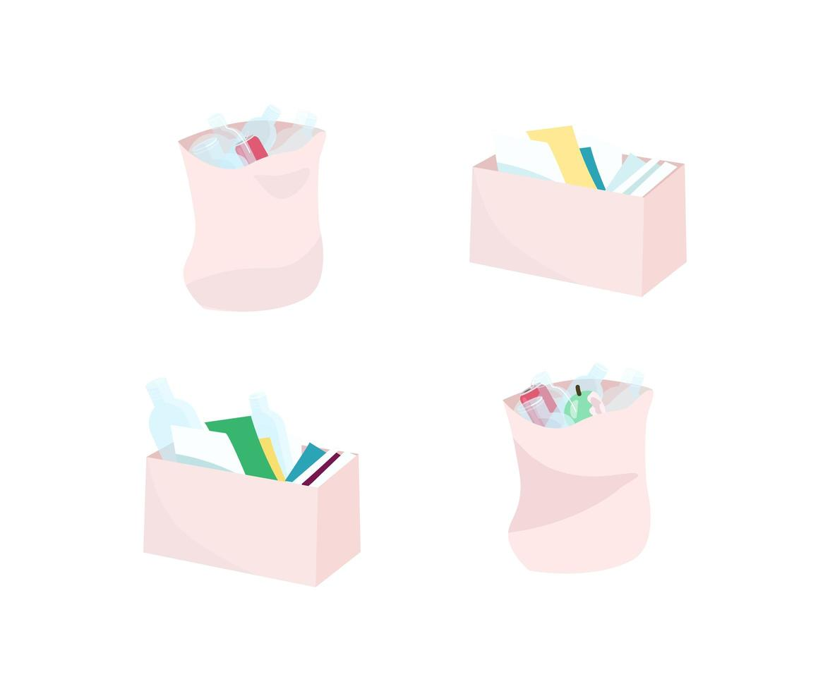 afvalbakken en tassen objecten ingesteld vector