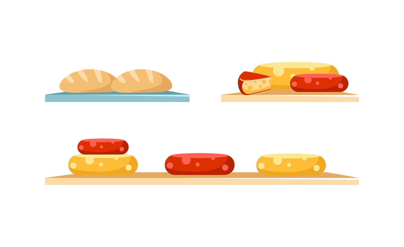 kaas en brood display-objecten instellen vector