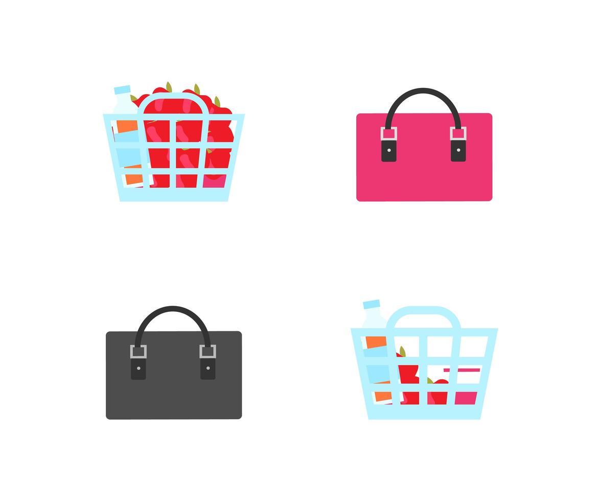 winkelmanden en tassen objecten vector