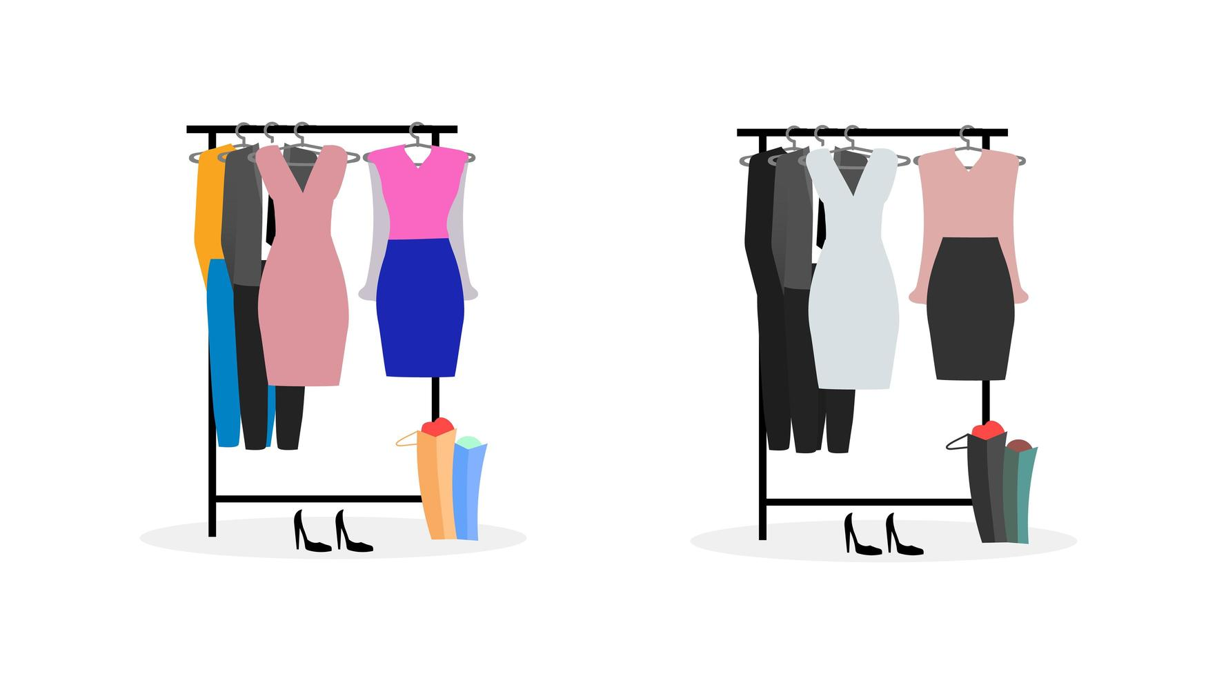 kledingrekken platte objecten instellen vector
