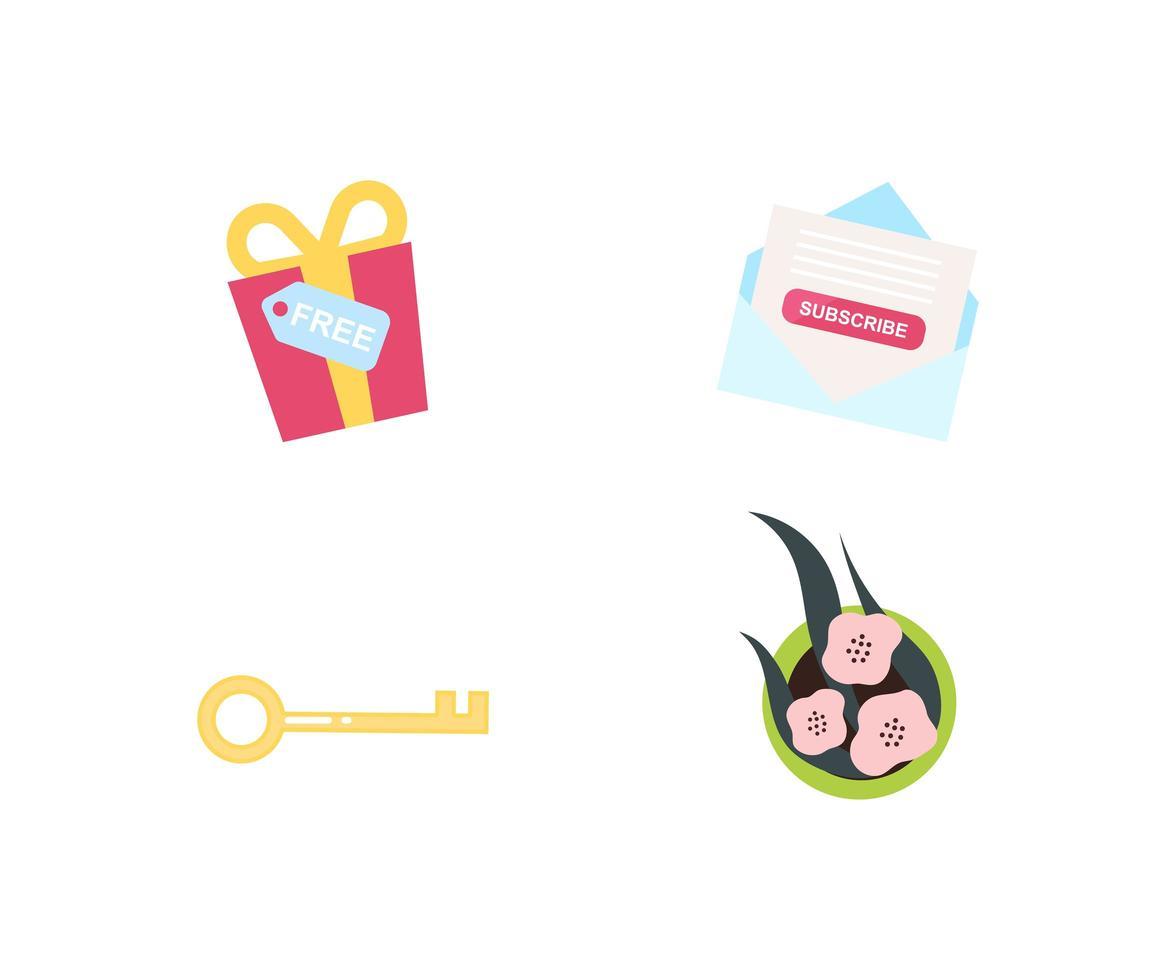 promotie geschenken platte objecten instellen vector