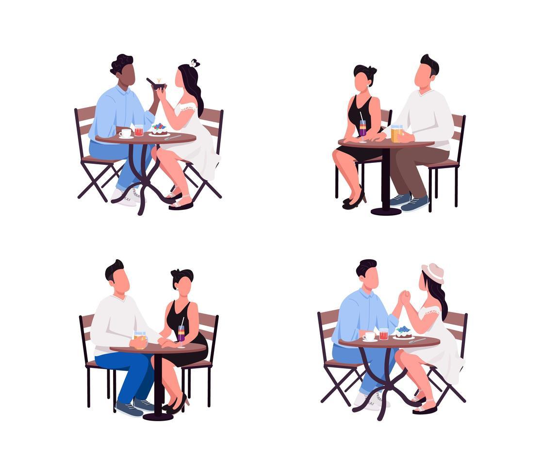 paren zitten aan tafel egale kleur vector gezichtsloze tekenset