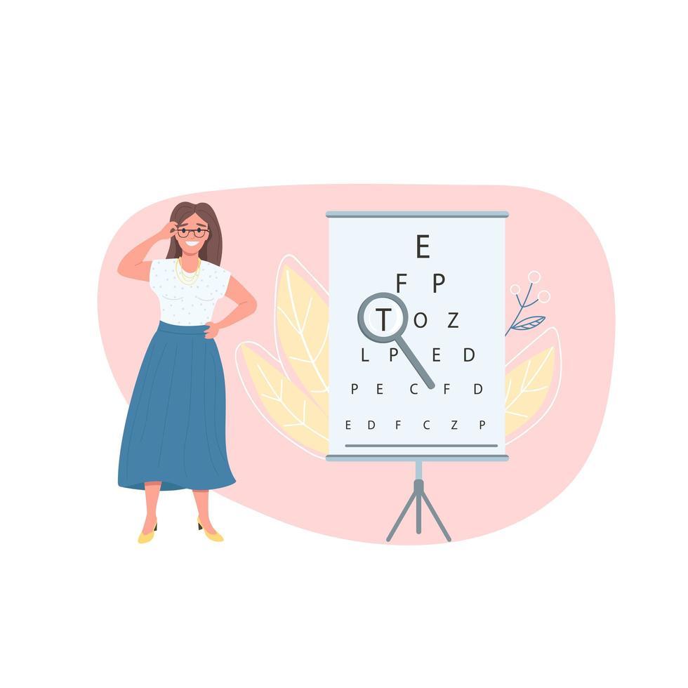 opticien vrouwelijke patiënt egale kleur vector gezichtsloos karakter